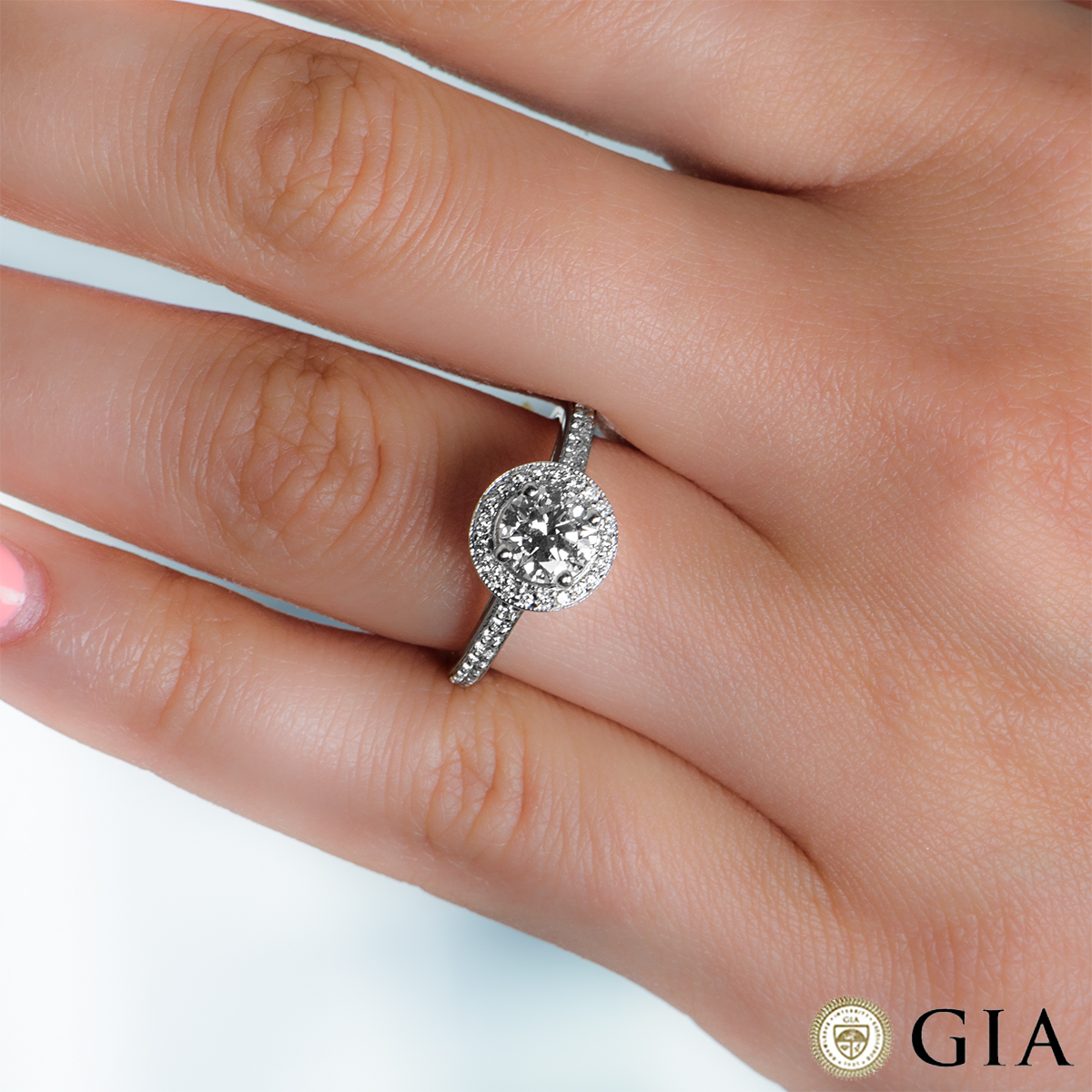 White Gold Round Brilliant Cut Diamond Ring 0.94ct F/VS2